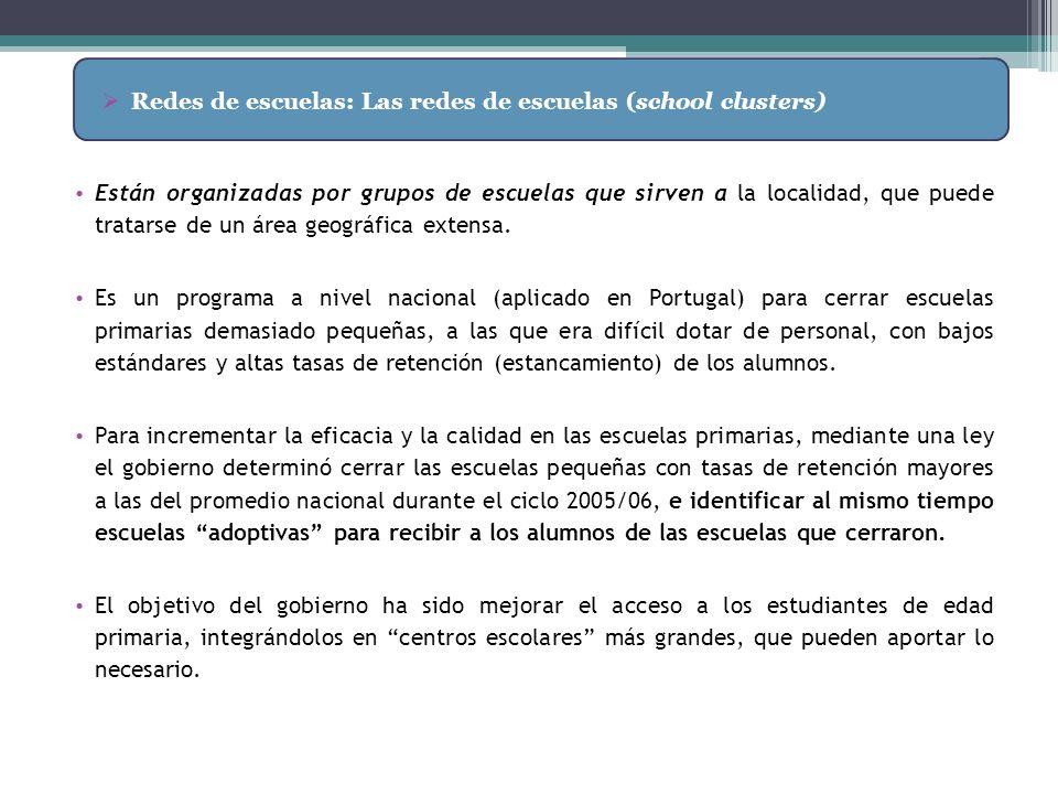 Redes de escuelas: Las redes de escuelas (school clusters)
