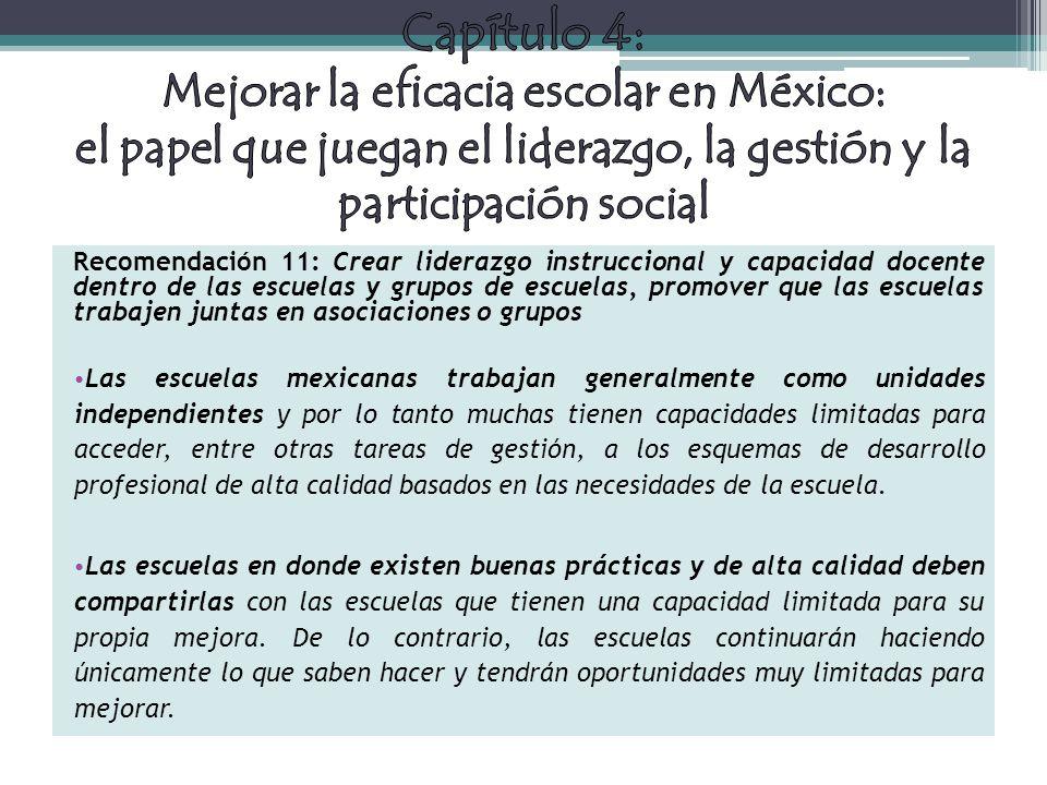 Capítulo 4: Mejorar la eficacia escolar en México: el papel que juegan el liderazgo, la gestión y la participación social