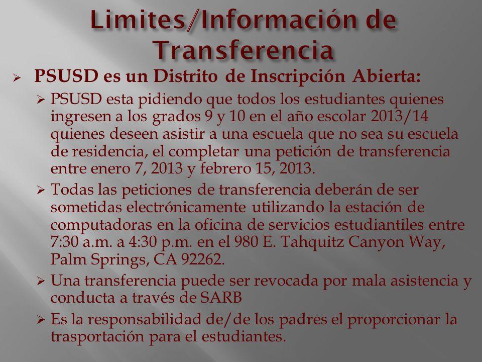 Limites/Información de Transferencia