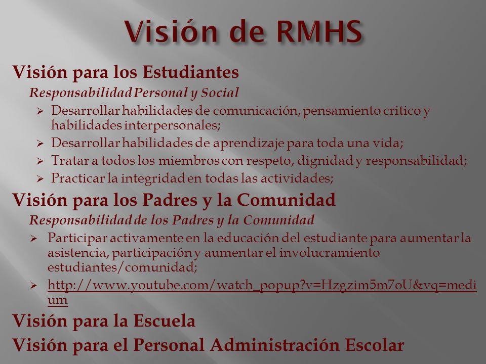 Visión de RMHS Visión para los Estudiantes