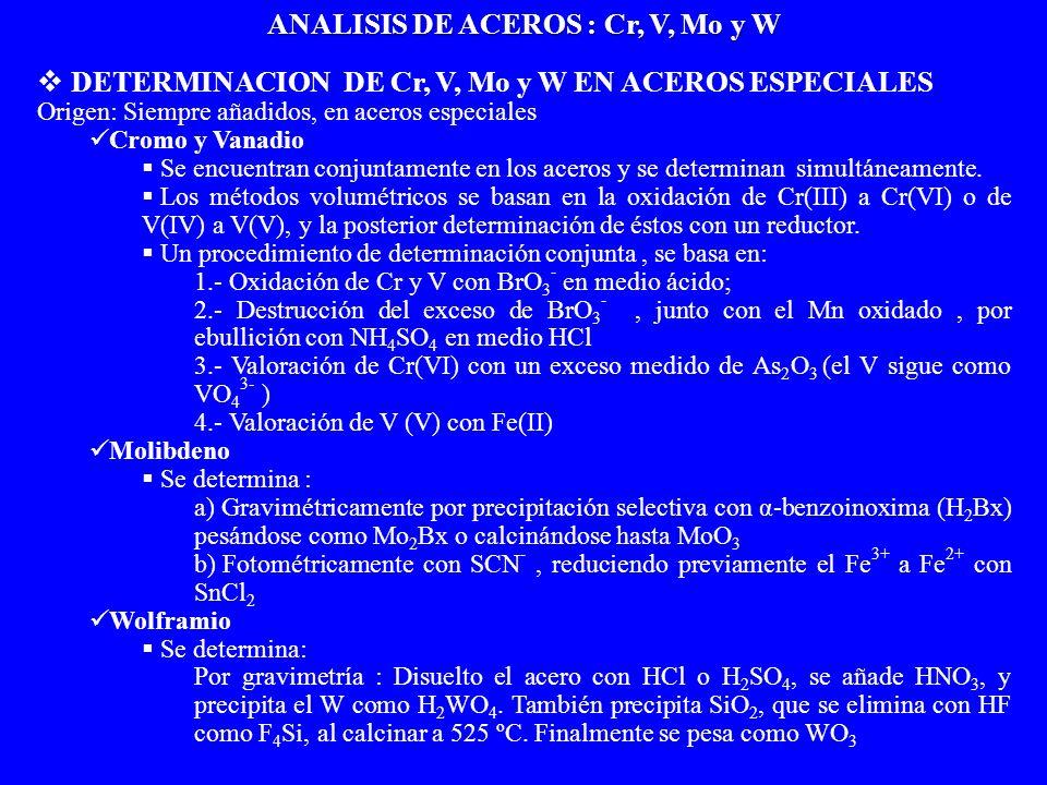 ANALISIS DE ACEROS : Cr, V, Mo y W