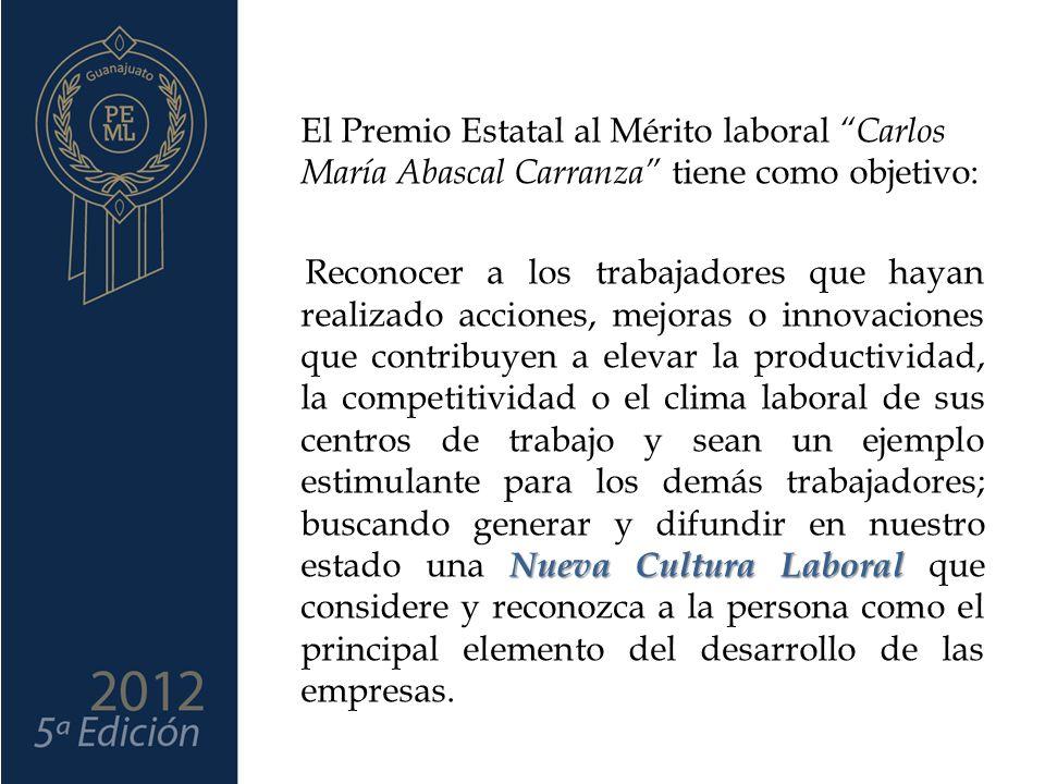 El Premio Estatal al Mérito laboral Carlos María Abascal Carranza tiene como objetivo: