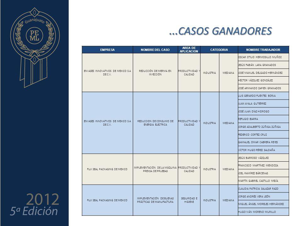 …CASOS GANADORES EMPRESA NOMBRE DEL CASO AREA DE APLICACION CATEGORIA