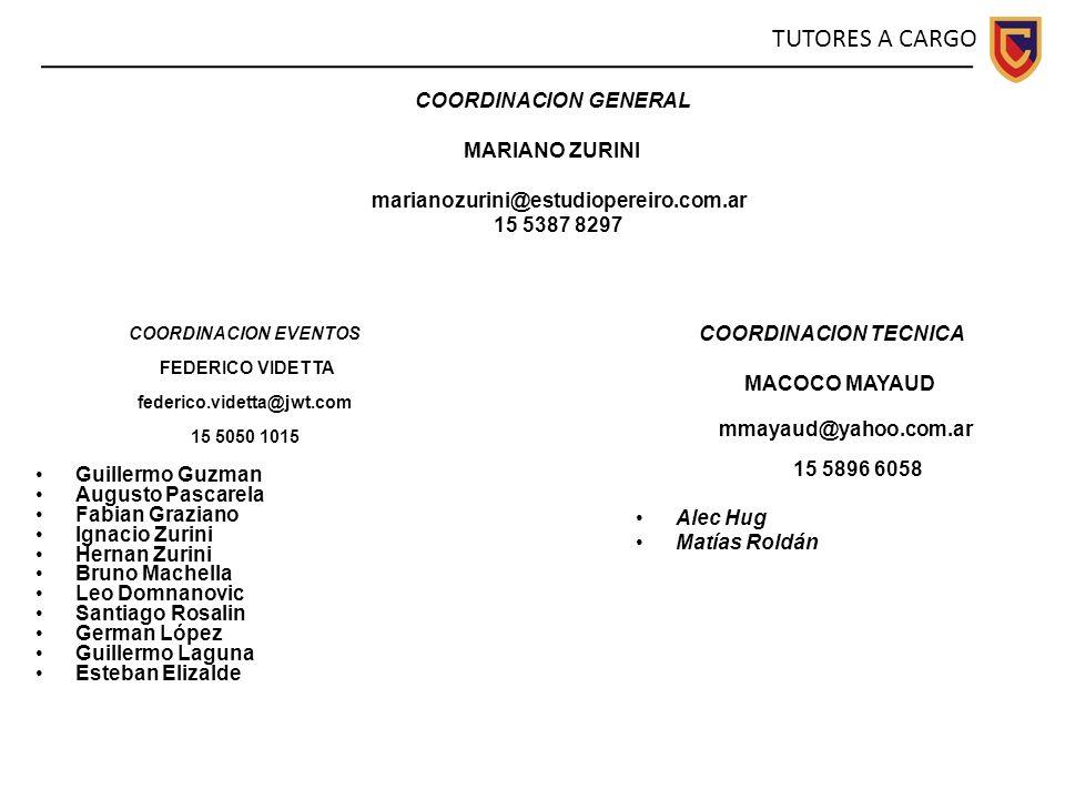 TUTORES A CARGO COORDINACION GENERAL MARIANO ZURINI
