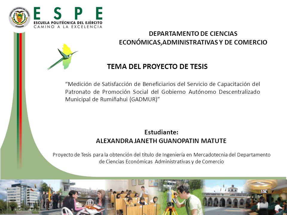 TEMA DEL PROYECTO DE TESIS