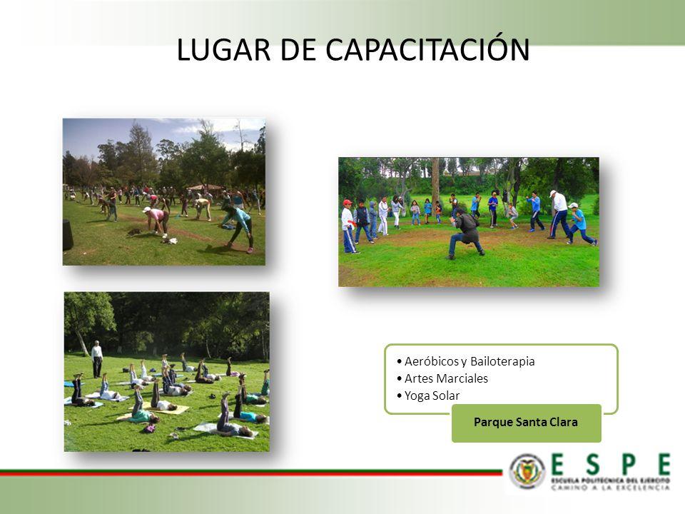 LUGAR DE CAPACITACIÓN Aeróbicos y Bailoterapia Artes Marciales