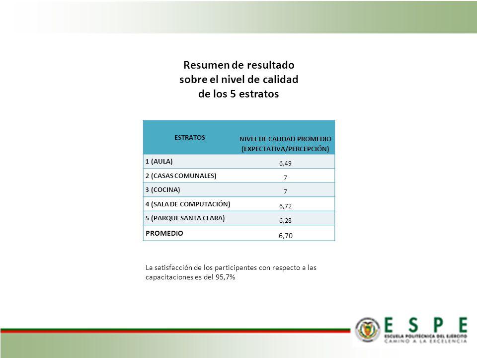 Resumen de resultado sobre el nivel de calidad de los 5 estratos