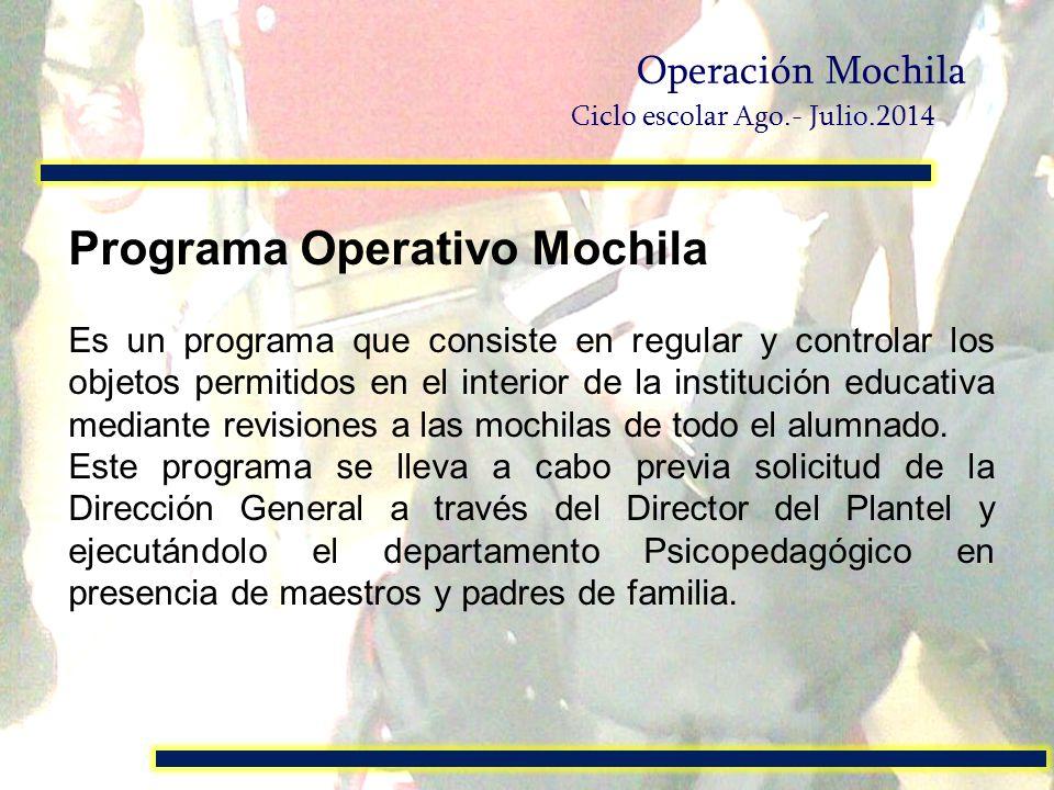 Programa Operativo Mochila