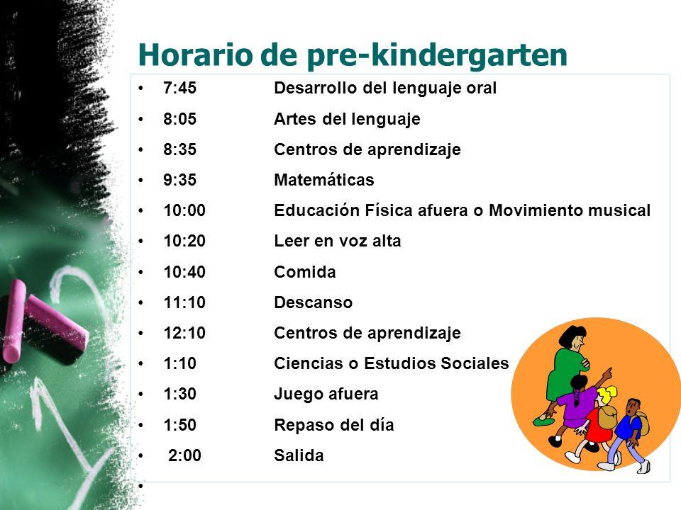 Horario de pre-kindergarten