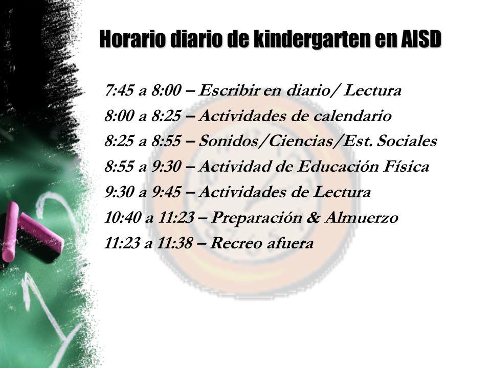 Horario diario de kindergarten en AISD
