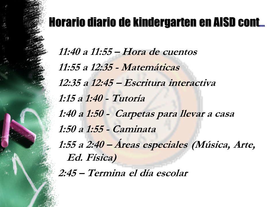 Horario diario de kindergarten en AISD cont…