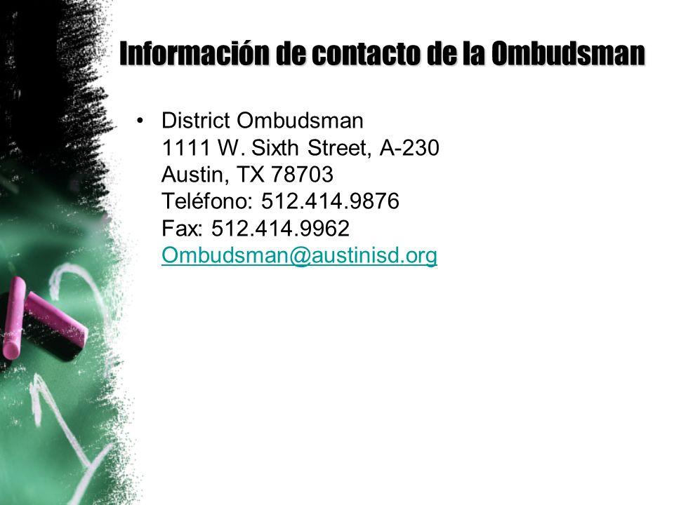 Información de contacto de la Ombudsman