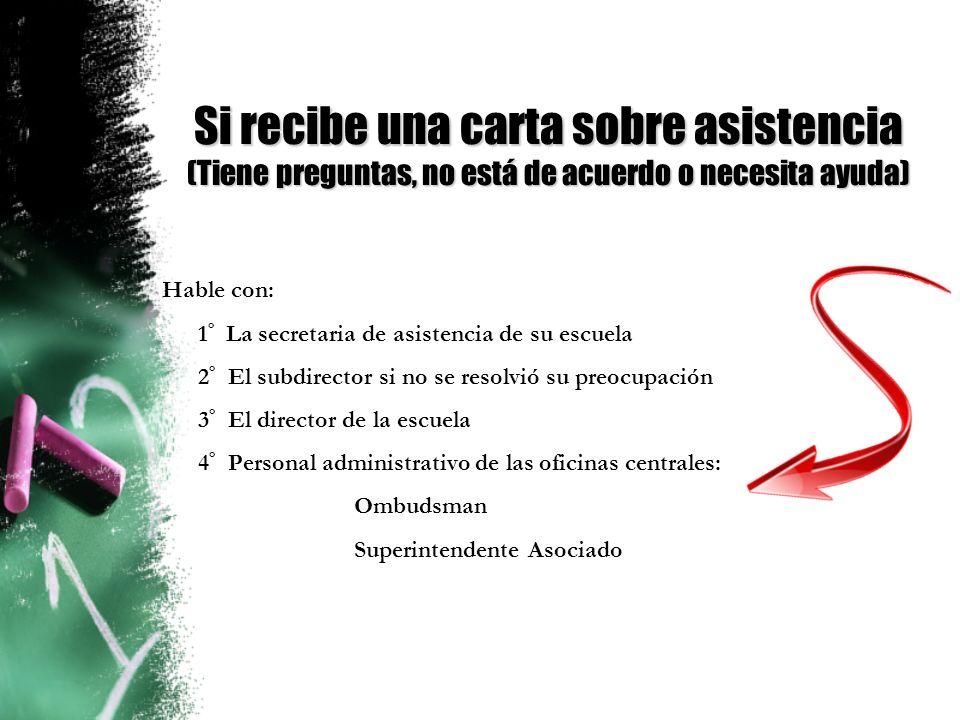 Si recibe una carta sobre asistencia (Tiene preguntas, no está de acuerdo o necesita ayuda)