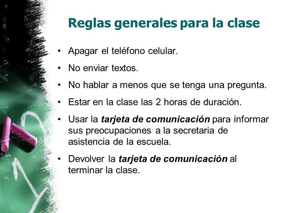 Reglas generales para la clase