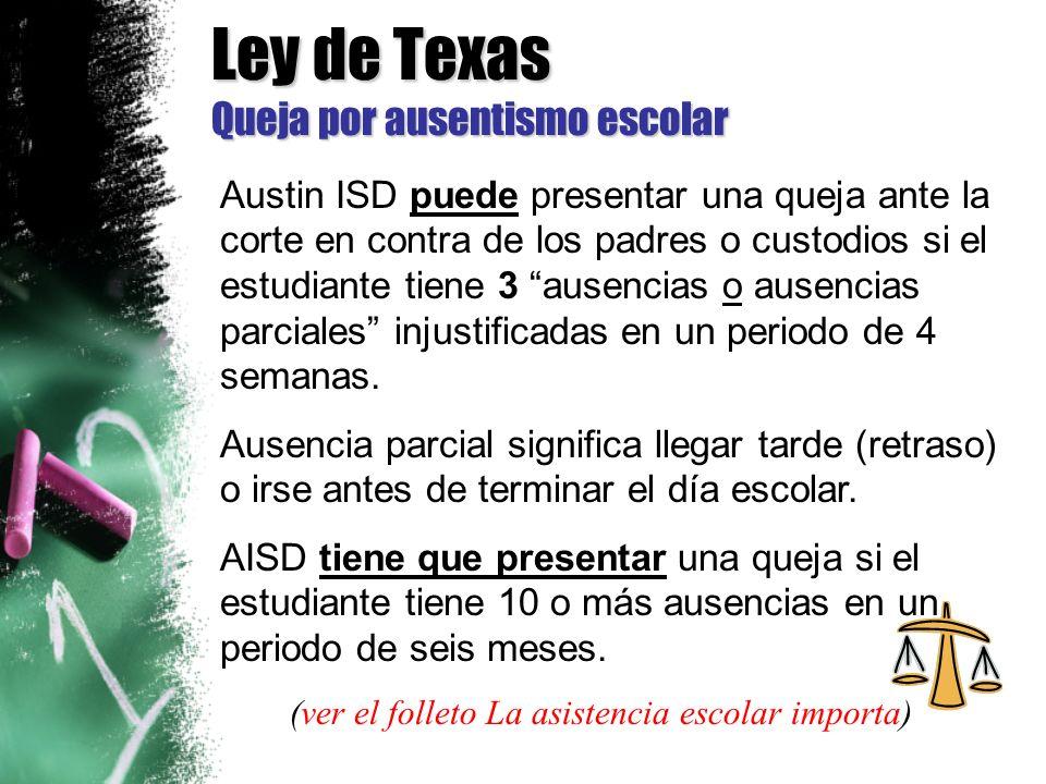 Ley de Texas Queja por ausentismo escolar