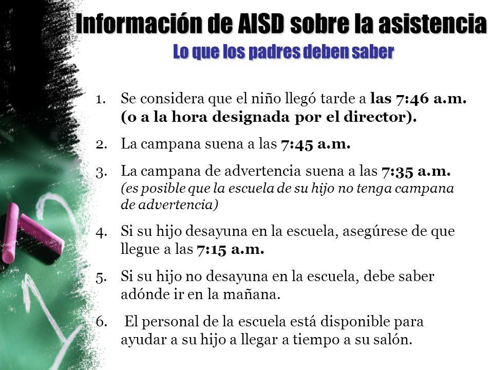 Información de AISD sobre la asistencia Lo que los padres deben saber