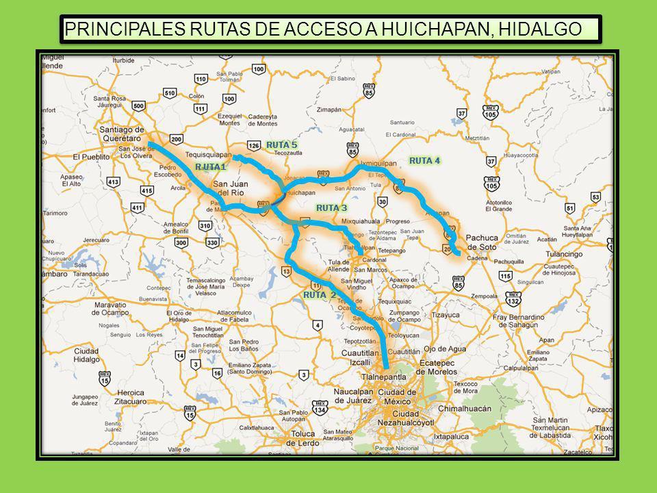 PRINCIPALES RUTAS DE ACCESO A HUICHAPAN, HIDALGO