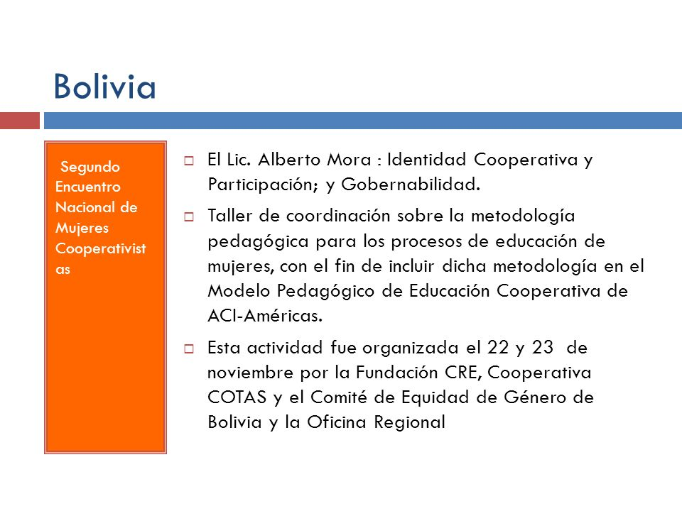 Bolivia Segundo Encuentro Nacional de Mujeres Cooperativist as.