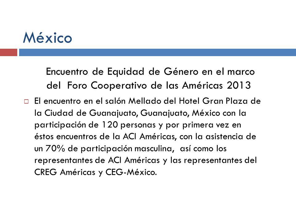 México Encuentro de Equidad de Género en el marco del Foro Cooperativo de las Américas 2013.