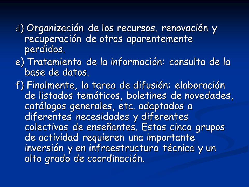 d) Organización de los recursos