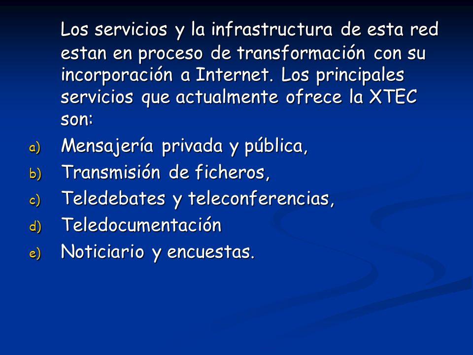 Los servicios y la infrastructura de esta red estan en proceso de transformación con su incorporación a Internet. Los principales servicios que actualmente ofrece la XTEC son: