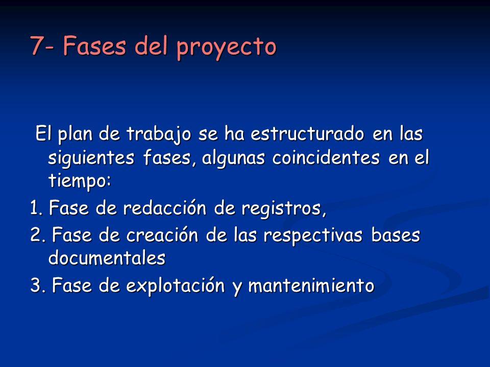 7- Fases del proyecto El plan de trabajo se ha estructurado en las siguientes fases, algunas coincidentes en el tiempo: