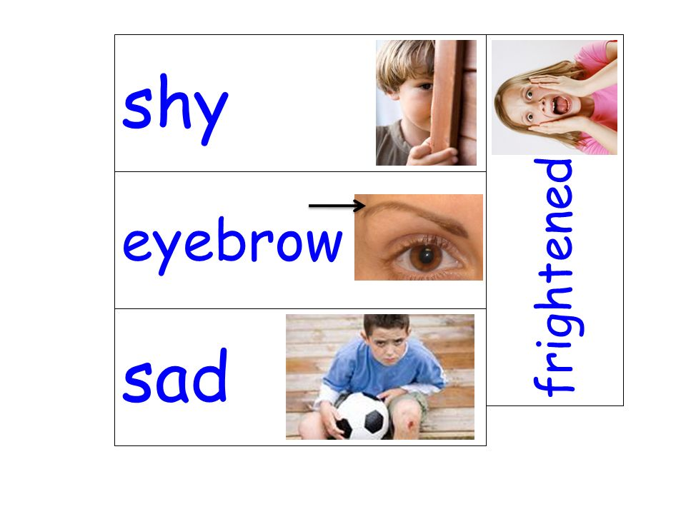 shy frightened eyebrow sad