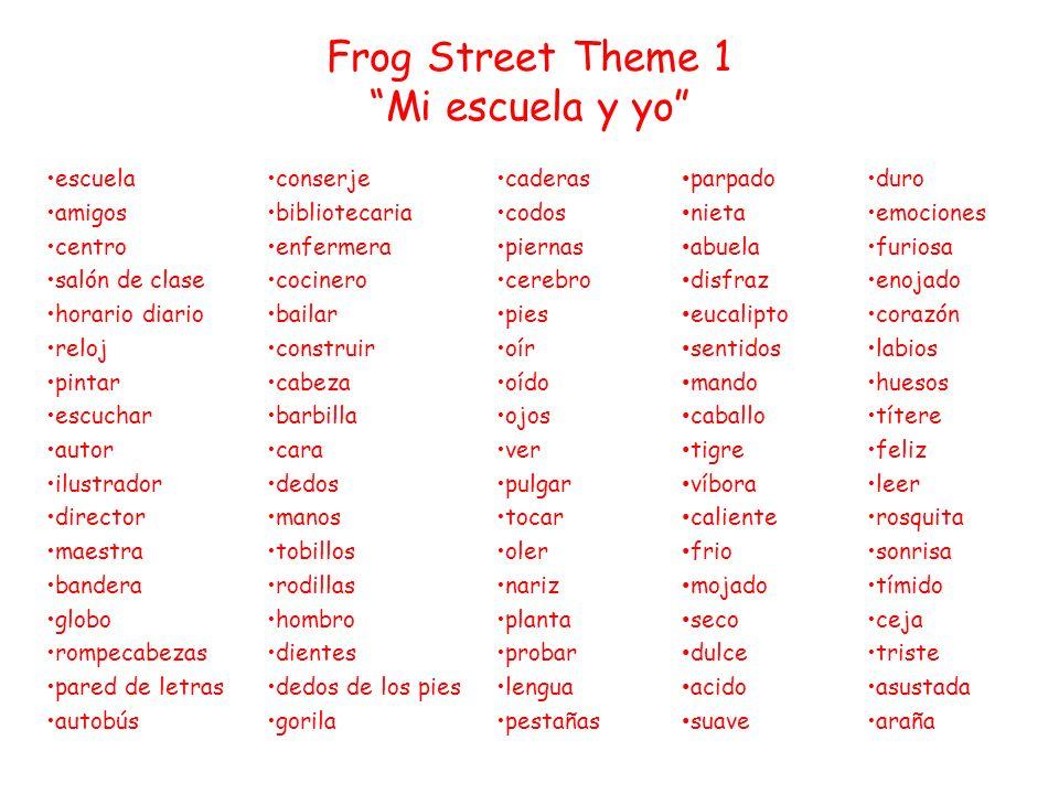 Frog Street Theme 1 Mi escuela y yo
