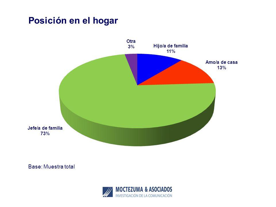 Posición en el hogar Base: Muestra total Otra 3% Hijo/a de familia 11%