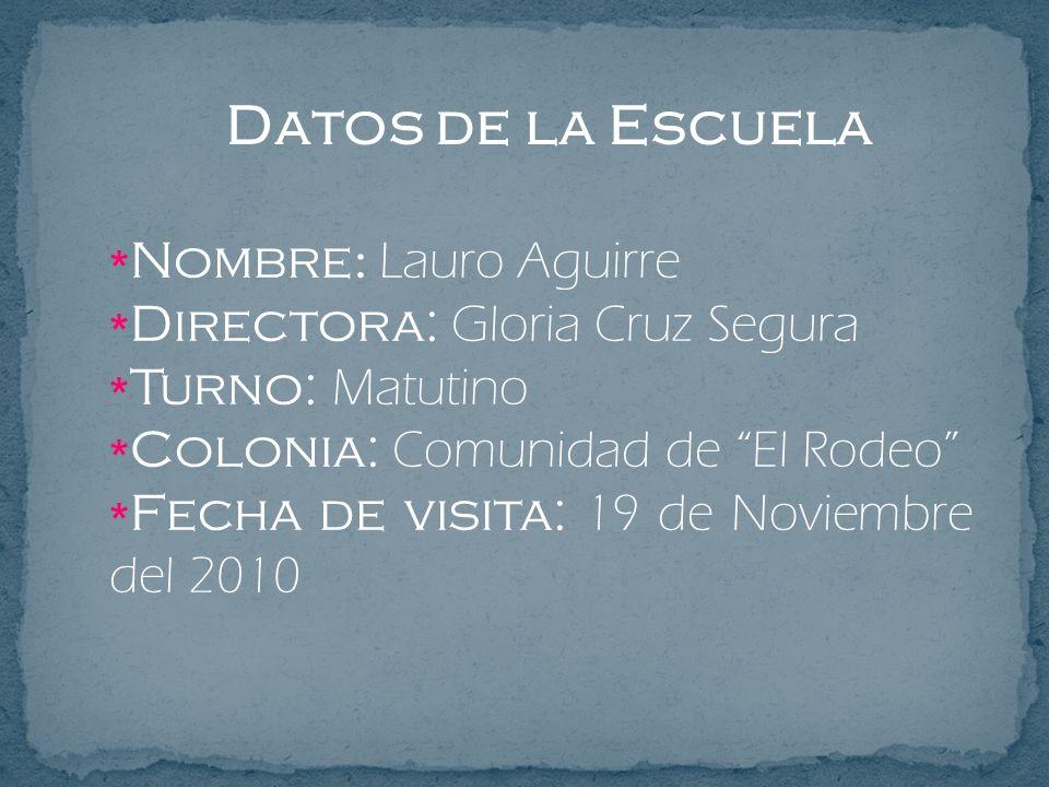 Datos de la Escuela Nombre: Lauro Aguirre
