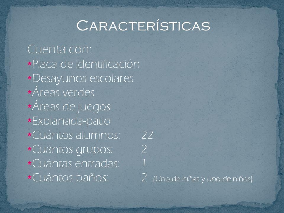 Características Cuenta con: Placa de identificación