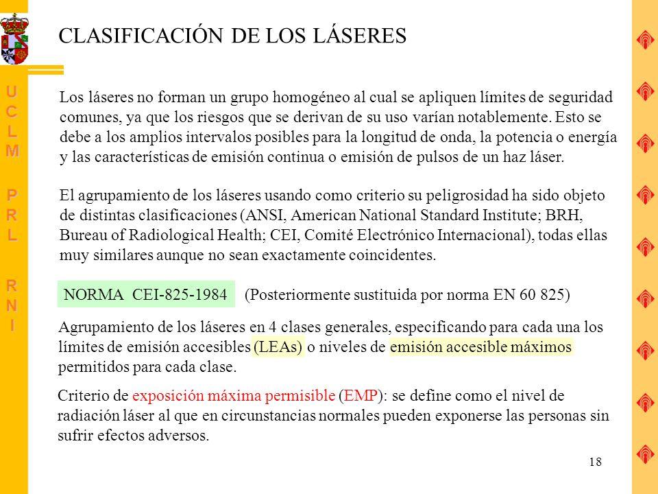 CLASIFICACIÓN DE LOS LÁSERES