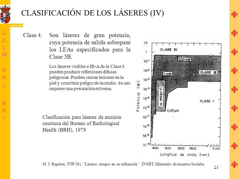 CLASIFICACIÓN DE LOS LÁSERES (IV)