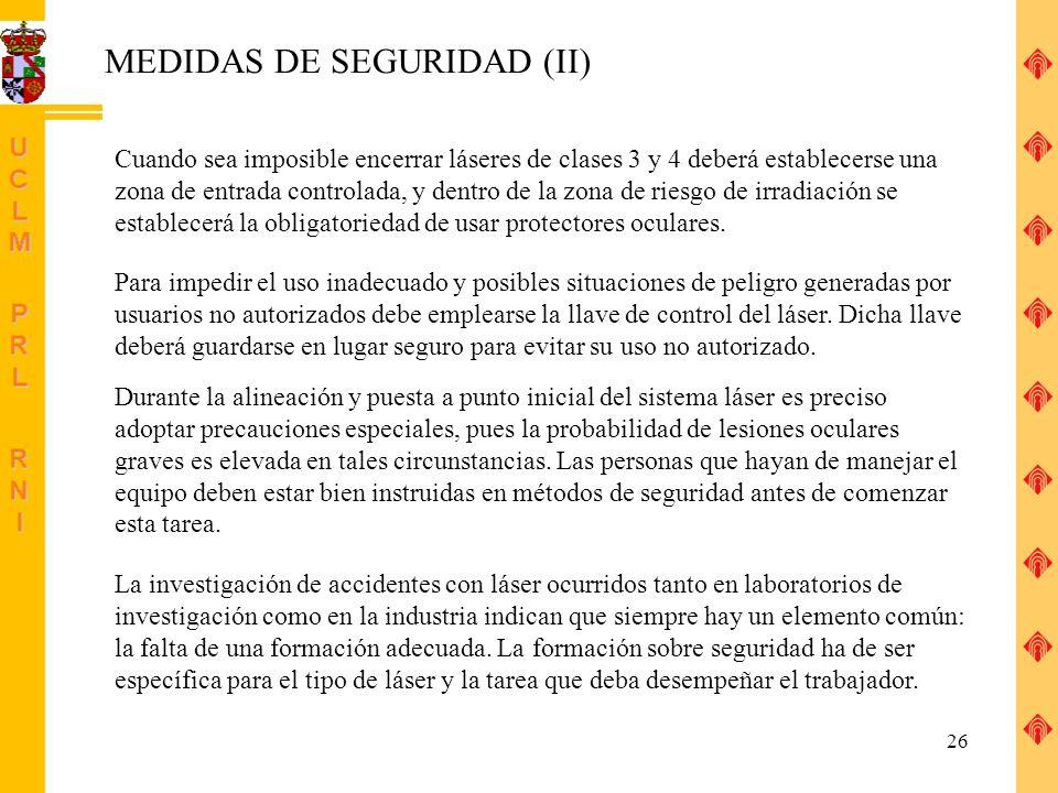 MEDIDAS DE SEGURIDAD (II)