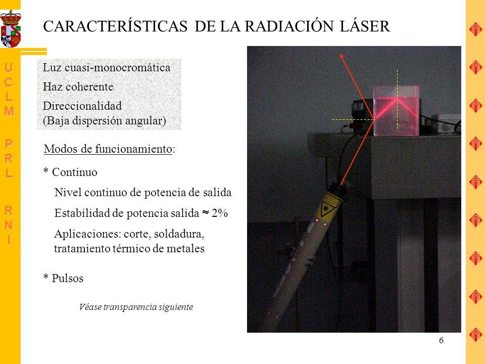 CARACTERÍSTICAS DE LA RADIACIÓN LÁSER