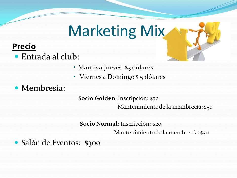Marketing Mix Precio Entrada al club: Membresía: