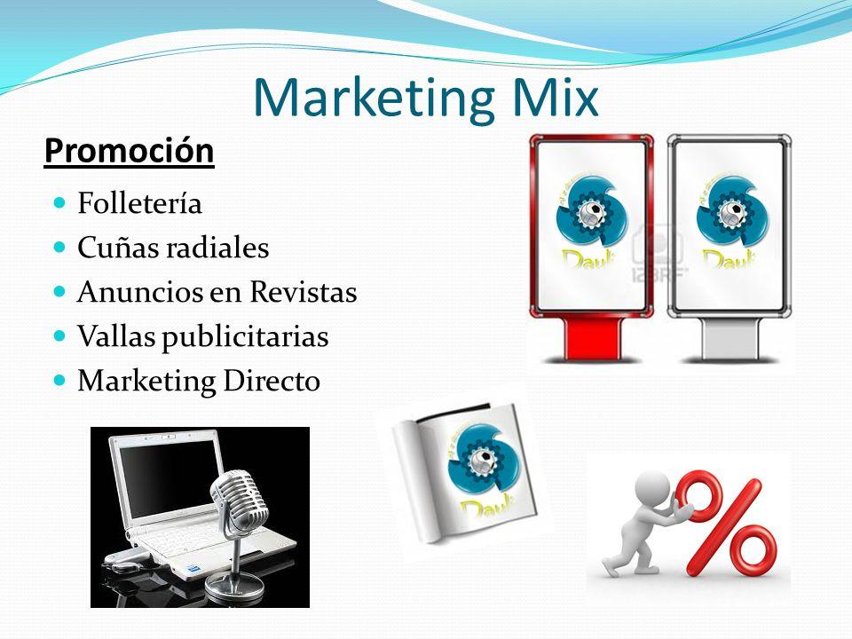 Marketing Mix Promoción Folletería Cuñas radiales Anuncios en Revistas