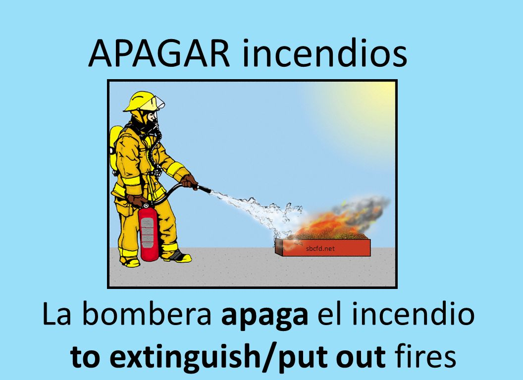 APAGAR incendios La bombera apaga el incendio