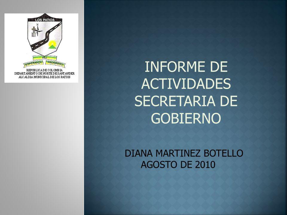 INFORME DE ACTIVIDADES SECRETARIA DE GOBIERNO