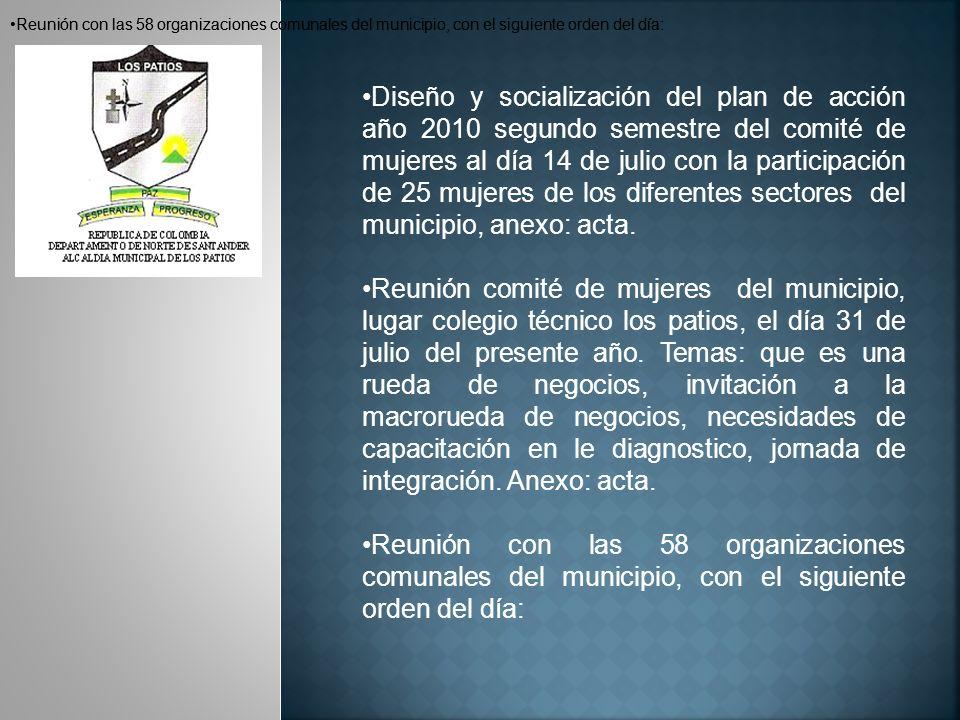 Reunión con las 58 organizaciones comunales del municipio, con el siguiente orden del día: