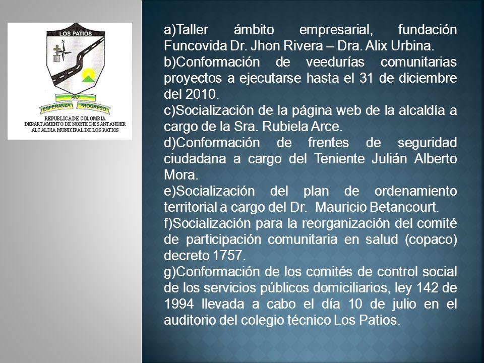 a)Taller ámbito empresarial, fundación Funcovida Dr. Jhon Rivera – Dra