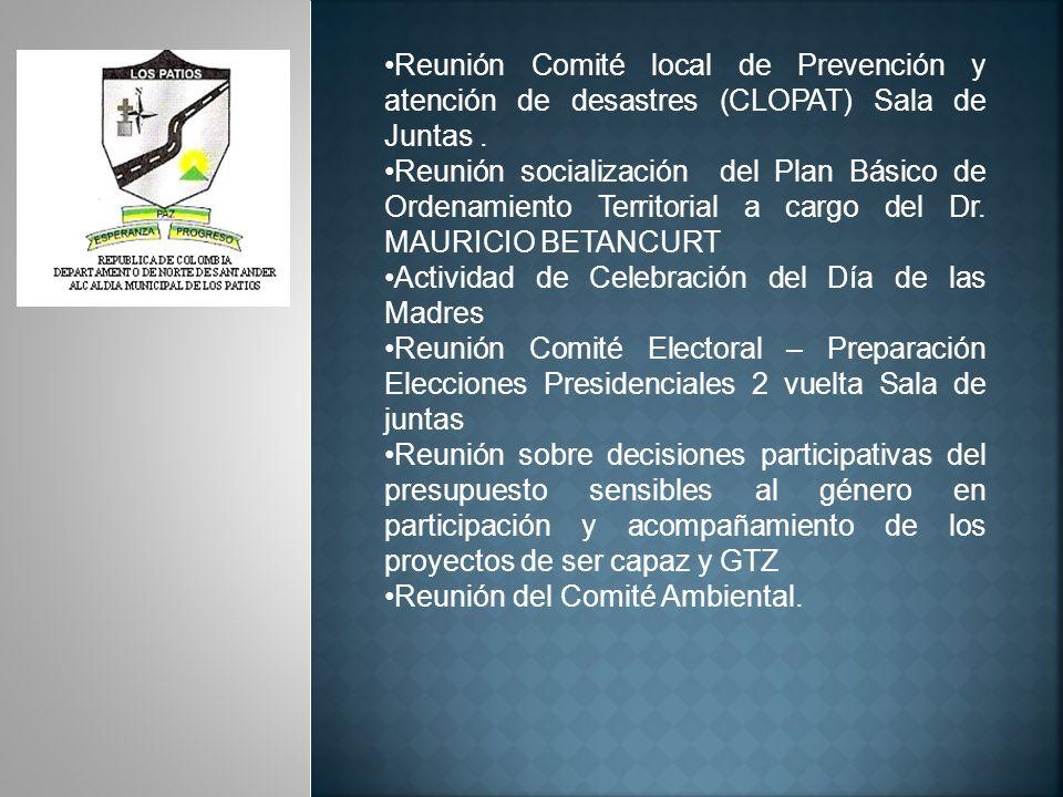 Reunión Comité local de Prevención y atención de desastres (CLOPAT) Sala de Juntas .