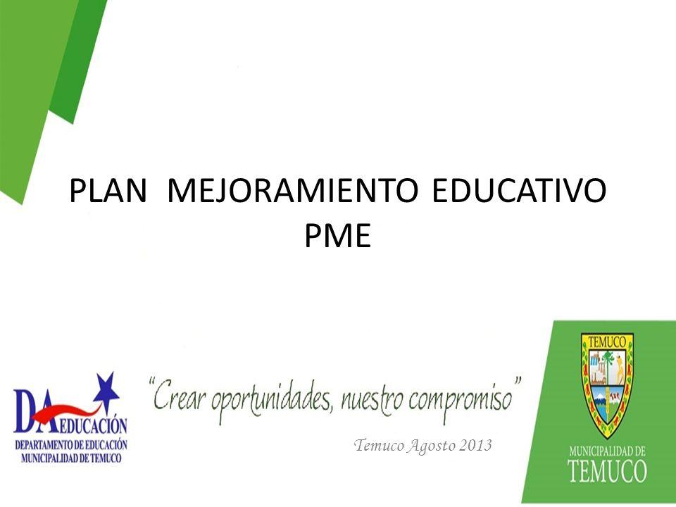 PLAN MEJORAMIENTO EDUCATIVO PME