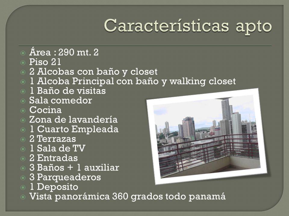 Características apto Área : 290 mt. 2 Piso 21