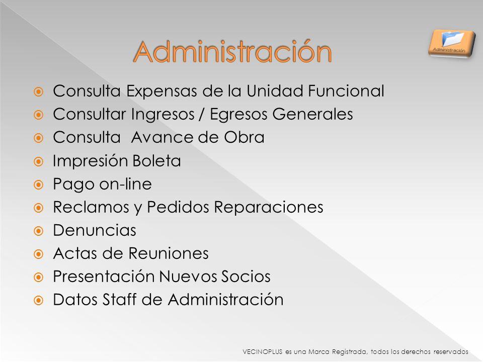 Administración Consulta Expensas de la Unidad Funcional