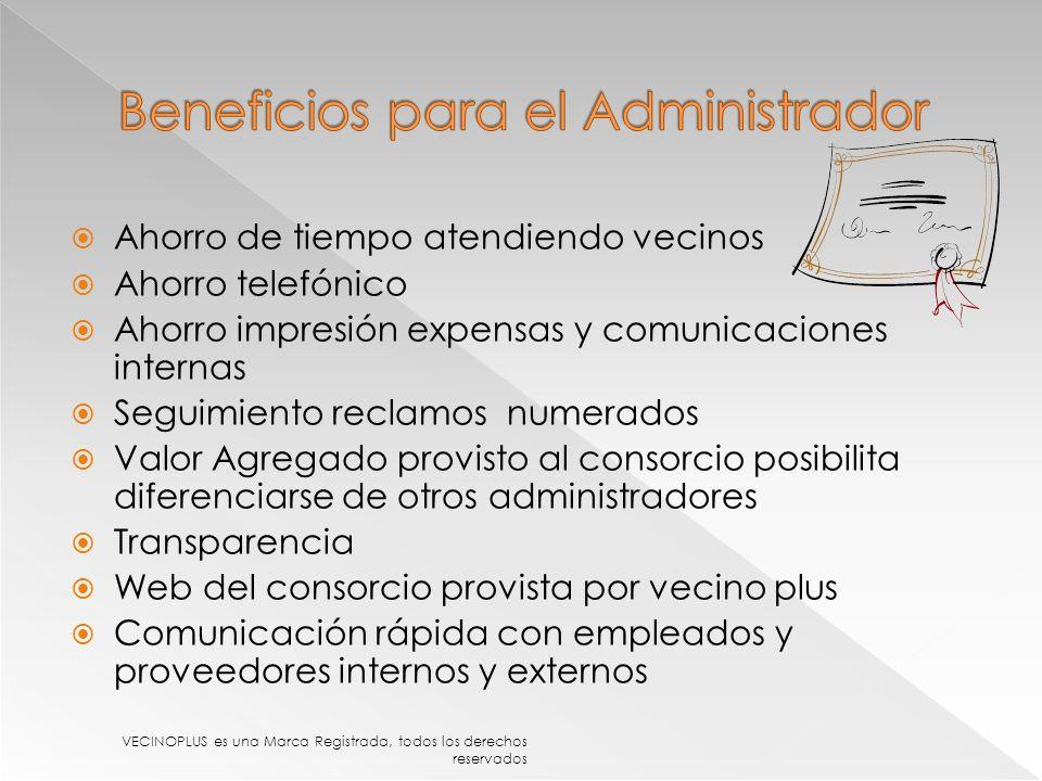 Beneficios para el Administrador