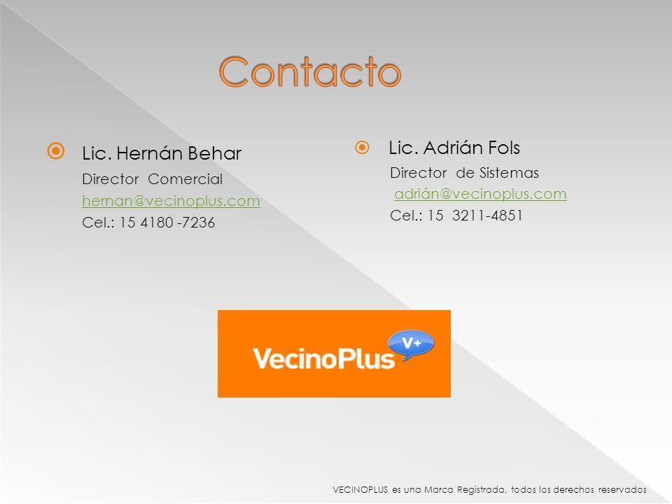 Contacto Lic. Hernán Behar Lic. Adrián Fols Director de Sistemas