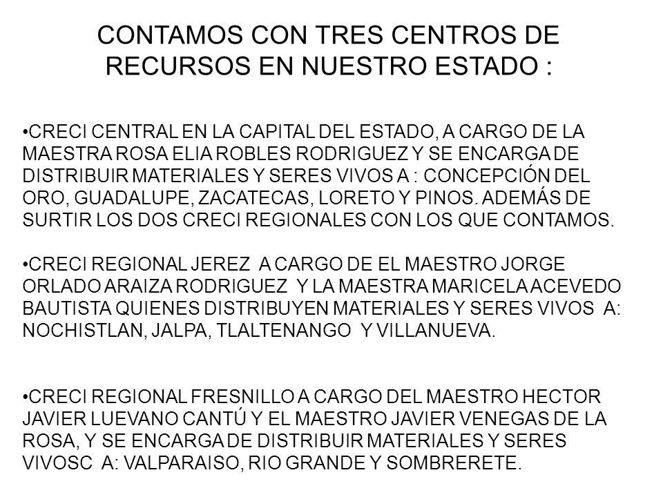 CONTAMOS CON TRES CENTROS DE RECURSOS EN NUESTRO ESTADO :