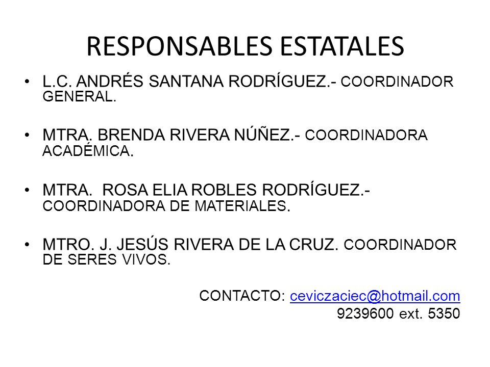 RESPONSABLES ESTATALES