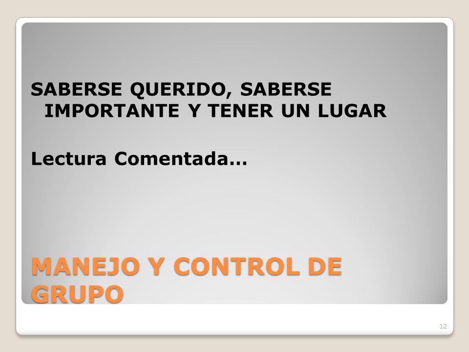 MANEJO Y CONTROL DE GRUPO